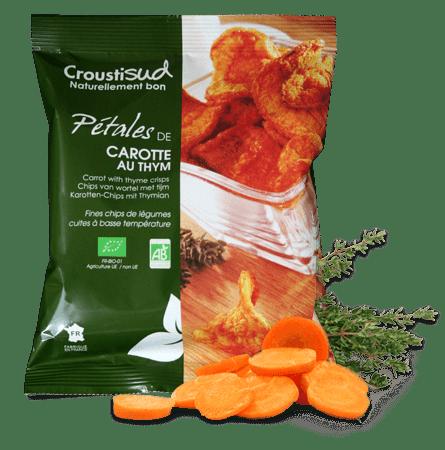 Chips de pétales de carotte au thym Bio