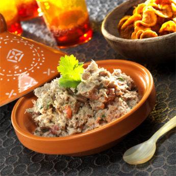 Rillettes de sardines à l'orientale sur chips de carotte