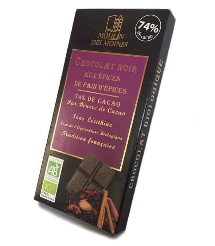 Chocolat noir 74% aux épices de pain d'épices