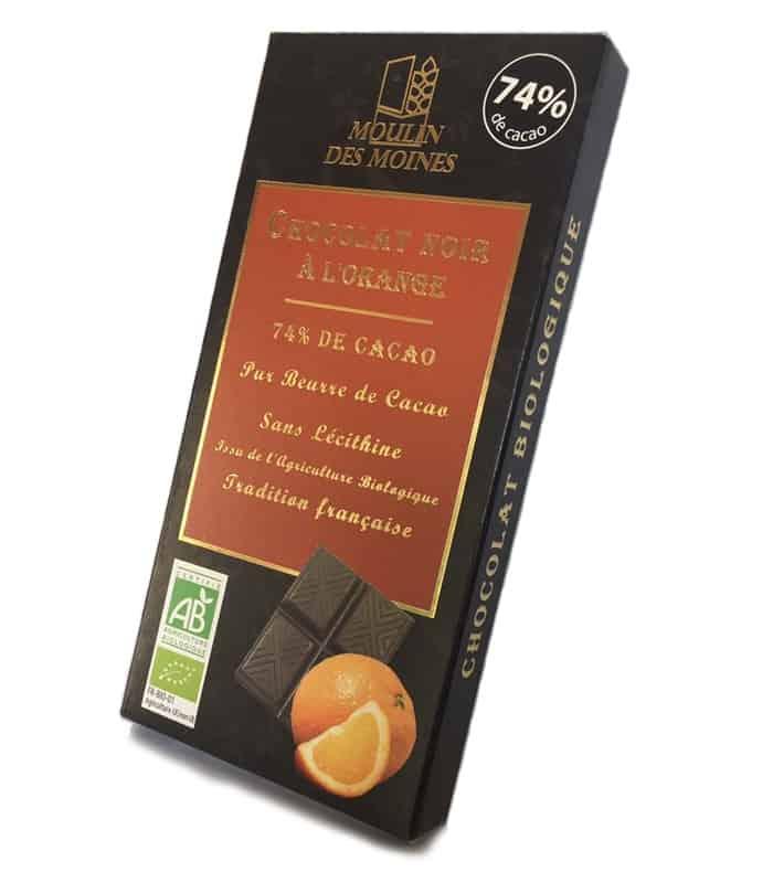 Chocolat noir bio à l'orange