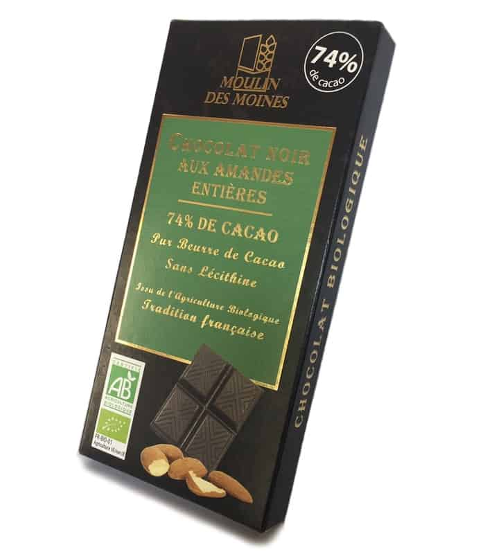 Chocolat noir amandes entières 74% de cacao